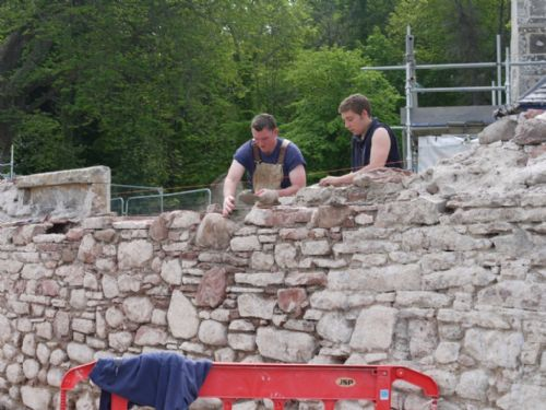 Andrew and Craig rebuild a sectionof the East church, Cromarty boundary wall