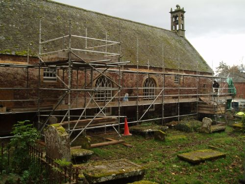 East Church south wall with harling removed