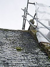 scaffolded north gable of East Church