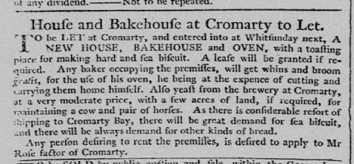 Cromarty bakery to let in 1782